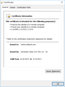 "The SSL server certificate for Internet Banking ""Citibank"""